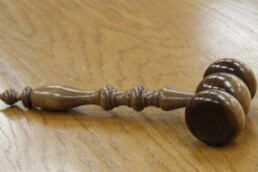 Gavel on wood table